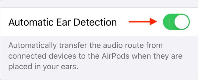 Toque alternar junto a Detección automática de oídos para apagarlo