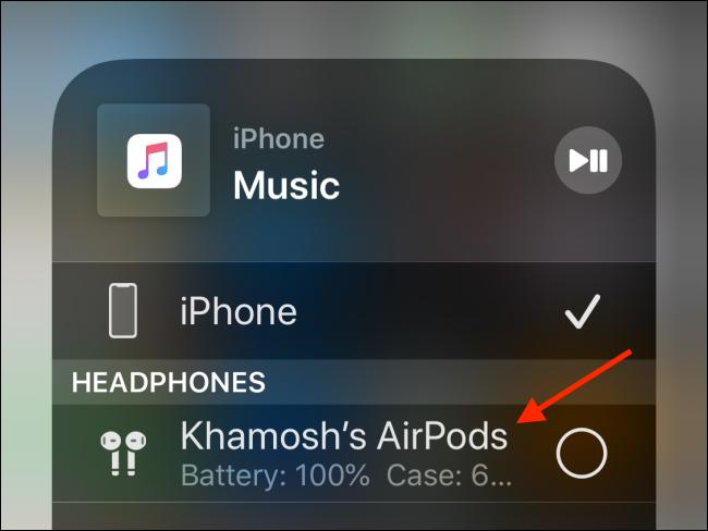 Elija sus AirPods para conectarse a ellos