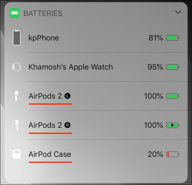 Widget de baterías que muestra la batería de AirPods en iPhone
