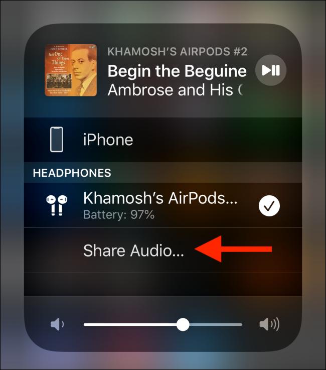 Toque el botón Compartir audio