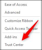 Opción Centro de confianza en la ventana de opciones de Word