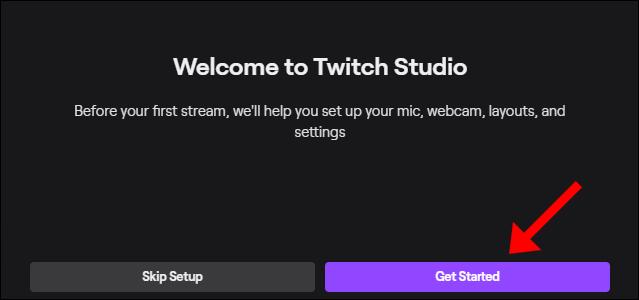"""Haga clic en """"Comenzar"""" para pasar por el proceso de configuración de Twitch Studio."""