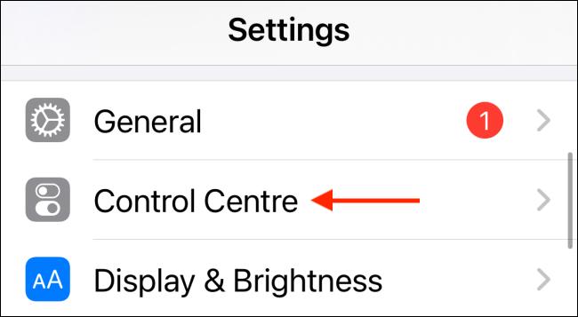 Elija el centro de control en la configuración