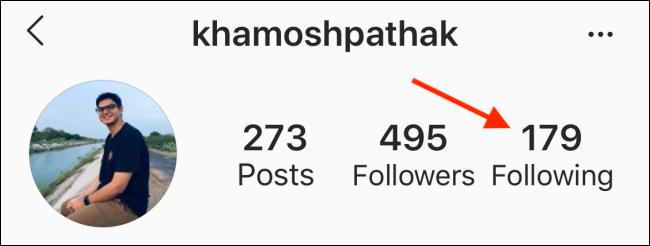 Toque el botón siguiente en el perfil de Instagram
