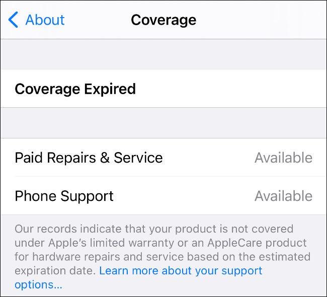 Información de la cubierta del iPhone