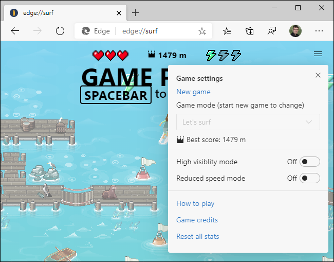 Configuración del juego en el juego de surf secreto de Edge