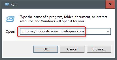 ejecutar el sitio web de incógnito de Chrome