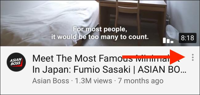 Toque el botón de menú en el título del video