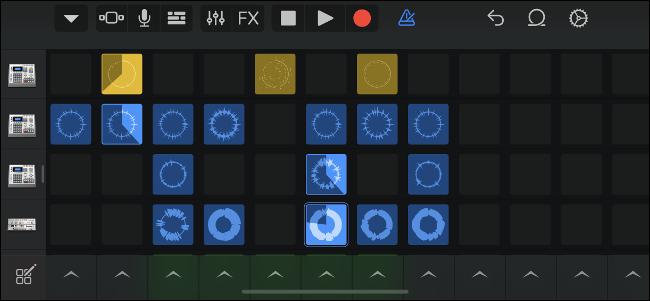 Activar muestras en una cuadrícula con los bucles en vivo de GarageBand