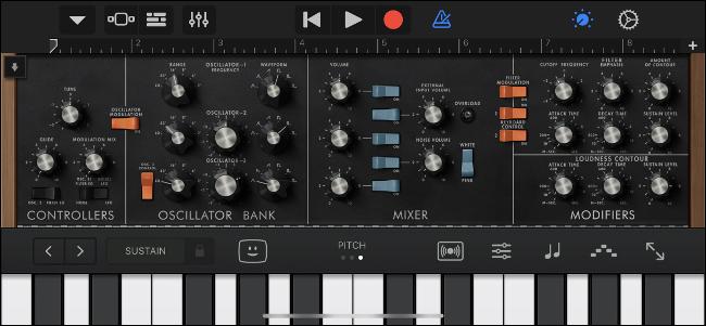 Uso de la unidad de audio clásica de Moog en GarageBand