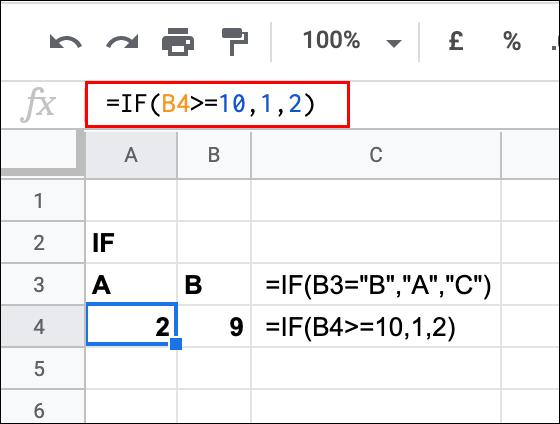 Una declaración IF utilizada en Google Sheets, que devuelve un resultado FALSO