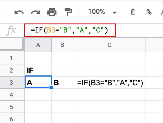 Una declaración IF simple utilizada en Hojas de cálculo de Google para probar el valor de una celda y arrojar un resultado VERDADERO