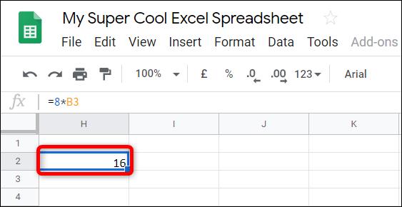 Después de ingresar los números enteros o los números de celda, presione la tecla Enter y Sheets colocará los resultados en la celda.