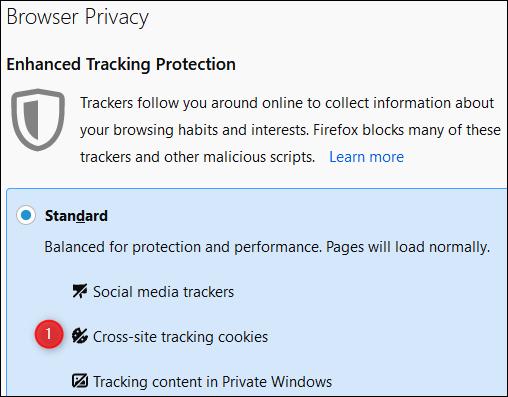 """los """"Privacidad del navegador"""" menú en Firefox."""