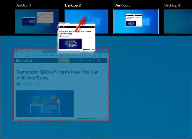 Arrastre y suelte una ventana de un escritorio virtual a otro en Windows 10.