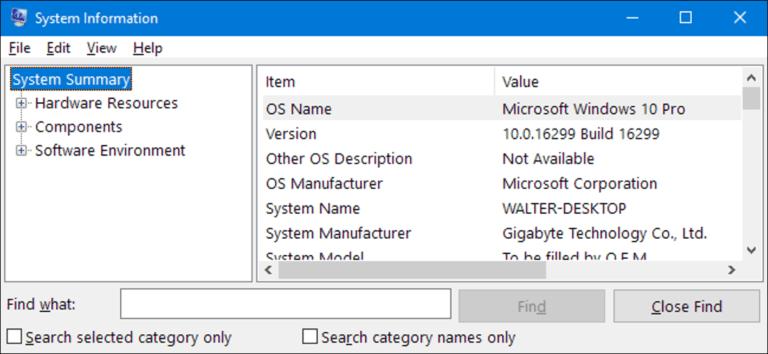 Cómo abrir el Panel de información del sistema en Windows 10 u 8