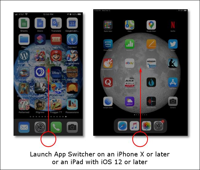 Deslice el dedo hacia arriba desde la parte inferior de la pantalla para iniciar App Switcher en iPhones o iPads sin botones de inicio.