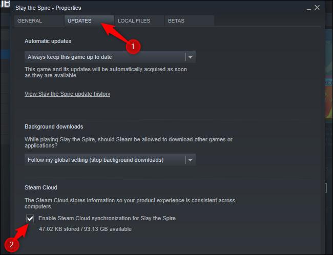 """Haga clic en """"Actualizaciones"""" pestaña y verifique la """"Habilite la sincronización de Steam Cloud para"""" opción."""