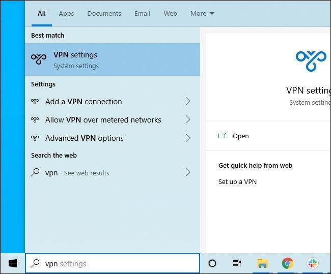 Busque en el menú Inicio de Windows 10 la configuración de VPN