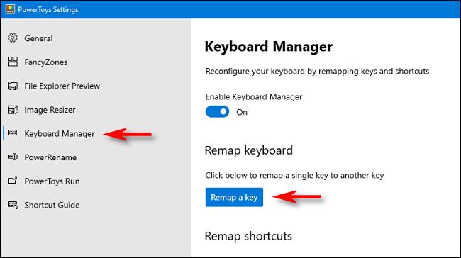 """Haga clic en """"Administrador de teclado"""" en la barra lateral, luego haga clic en """"Reasignar una clave."""""""