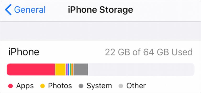 Cómo verificar el almacenamiento disponible en un iPhone o iPad