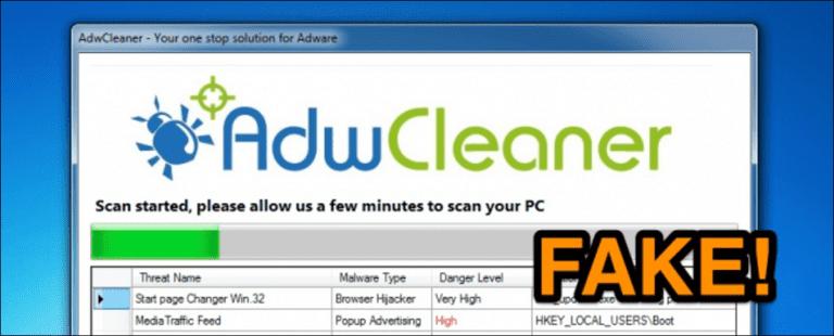 Los estafadores usan una versión falsa de AdwCleaner para engañar a la gente